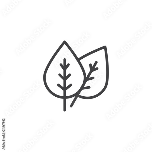 Leaves outline icon. linear style sign for mobile concept and web design. Two Leaf simple line vector icon. Eco symbol, logo illustration. Pixel perfect vector graphics Wall mural
