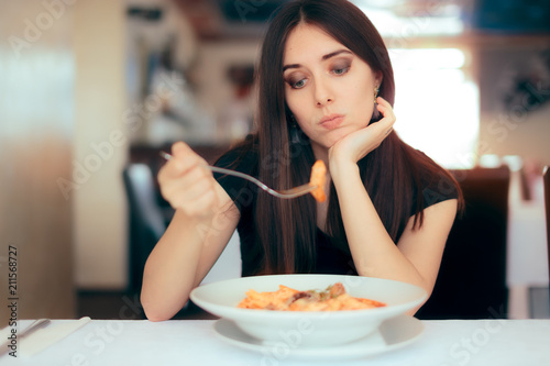 Female Customer Unhappy with the Dish Course in Restaurant