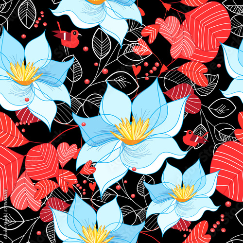 Seamless bright pattern of flowers and leaves Fototapete