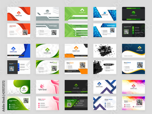 Fotomural Collection of 15 horizontal Business card template design with front and back presentation