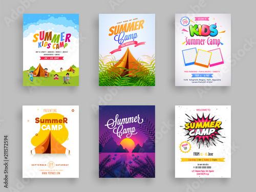 Fotomural Set of Summer camp flyer or template design.