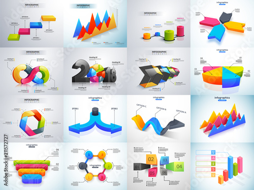 Photo  3D colorful set of Infographic elements with statistics or workflow layout for Business or corporate sector