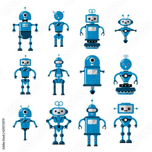 Set Of Vector Robots In Flat Cartoon Style Cute Cartoon Robotic