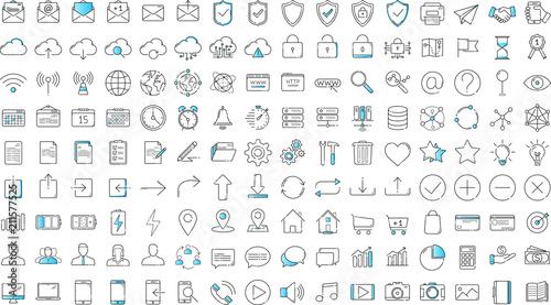 Obraz Black and blue business thin line icons set on white background - fototapety do salonu