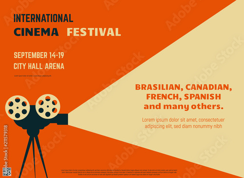 Photo Retro style international movie festival poster template