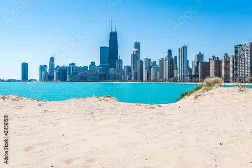 Spoed Foto op Canvas Amerikaanse Plekken Chicago Skyline at North Beach