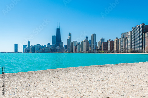 Foto op Plexiglas Amerikaanse Plekken Chicago Skyline at North Beach