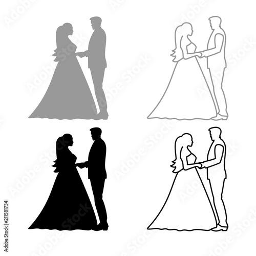Bride And Groom Holding Hands Icon Outline Set Grey Black Color