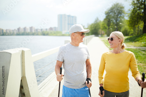 brand new deft design authentic quality Happy seniors in activewear trekking on sunny morning not ...