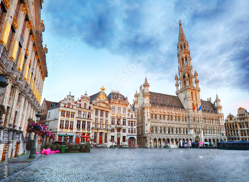 Brussels - Grand place at night, nobody, Belgium
