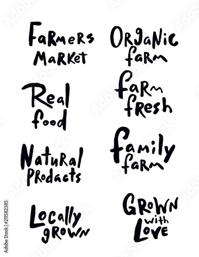 Set of hand drawn lettering quotes about farm products.
