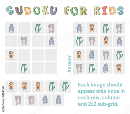 Valokuva Sudoku game for children with pictures
