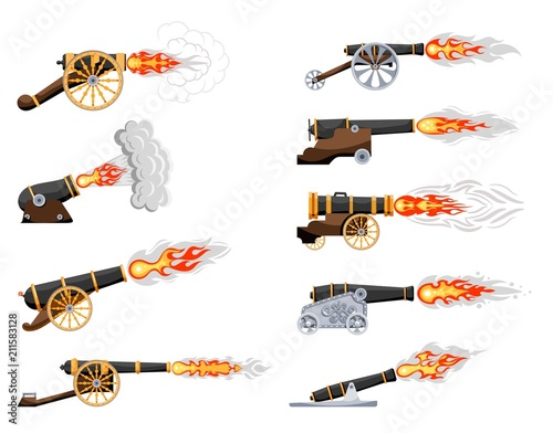 Set Vintage gun Wallpaper Mural