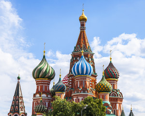 Fototapeta na wymiar Moscow, Russia, on June 25, 2018. St. Basil's Cathedral domes on Red Square