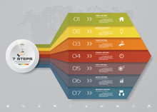 7 Steps Arrow Infographic Elements For Data Presentaton. EPS 10.