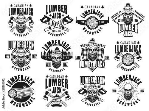 Photo sur Toile Papillons dans Grunge Lumberjack and woodworks vector vintage emblems