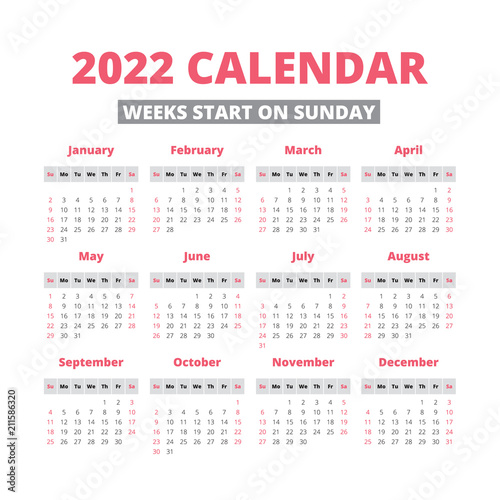 Poster  Simple 2022 year calendar