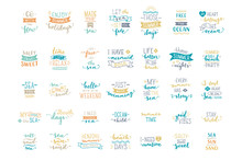 Vector Hand-drawn Lettering On Sea / Ocean Theme.