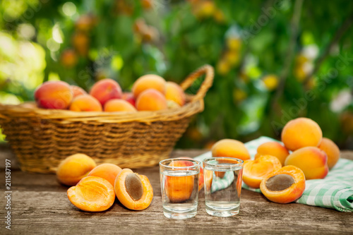 Shot glass with apricot alcohol drink