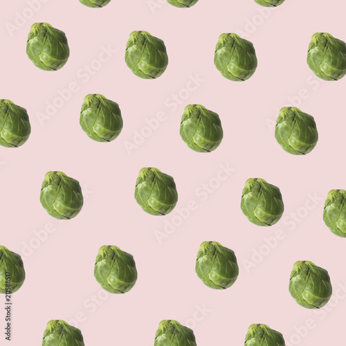 Poster Brussel brussels sprouts cabbage texture ina contemporary mood representation, veg pop hipster style