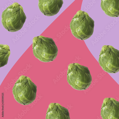 Foto op Canvas Brussel brussels sprouts cabbage texture ina contemporary mood representation, veg pop hipster style
