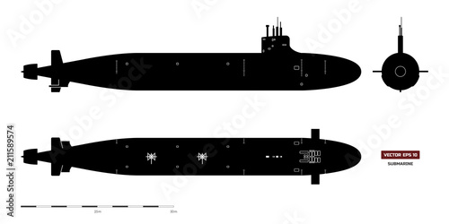 Foto Black silhouette of submarine