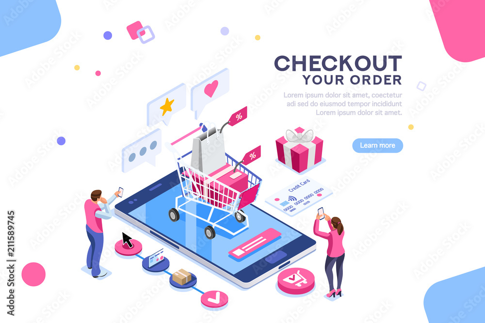 Fototapeta Order online concept with character. Customer order, online infographic. Isometric package sell, paying on screen purchase now discount. Flat Isometric characters illustration. Landing page for web.