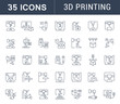Set Vector Line Icons of 3D Printing.