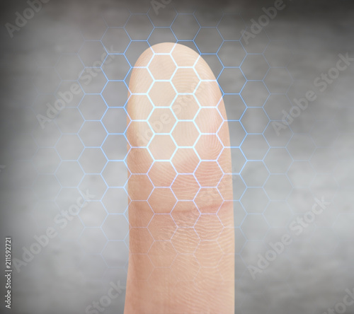 Papiers peints Inde Finger pressing on virtual button with dactyloscopy scanner.