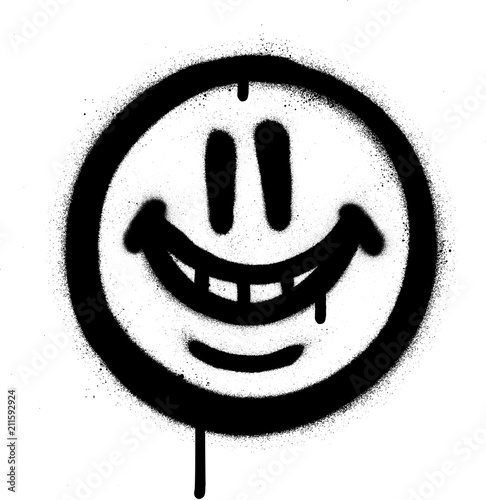graffiti whimsical smile emojo sprayed in black on white Wallpaper Mural