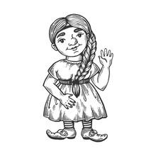 Gnome Girl Engraving Vector Il...