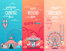 Set Of Amusement Park Landscape Banners With Carousels,