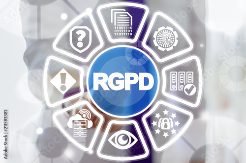 RGPD, Spanish, French and Italian version of GDPR. General Data Protection Regulation. The protection of personal data. Data safety european standard.