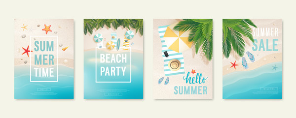 Tropical beach cards with sand, sea and palm trees. Summer flyers with starfish, flip flops and beach umbrellas.