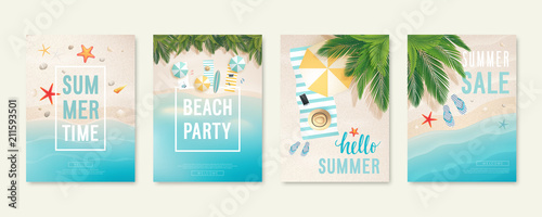 Fototapeta Tropical beach cards with sand, sea and palm trees. Summer flyers with starfish, flip flops and beach umbrellas. obraz