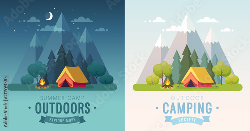 Fotografia Summer Camping morning and night graphic posters