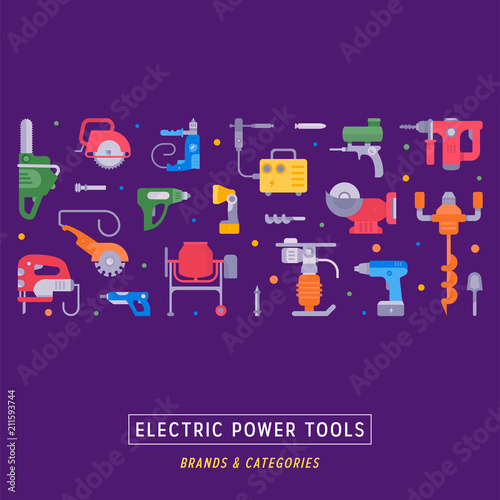 Poster de jardin Route Website Banner and Landing Page of Electric Power Tools.