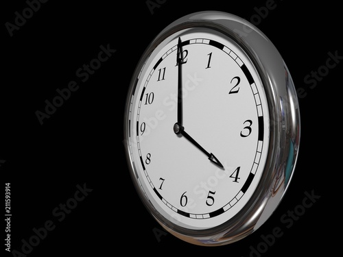 Fotografía  Large clock face with hands that mark the hours on Black background