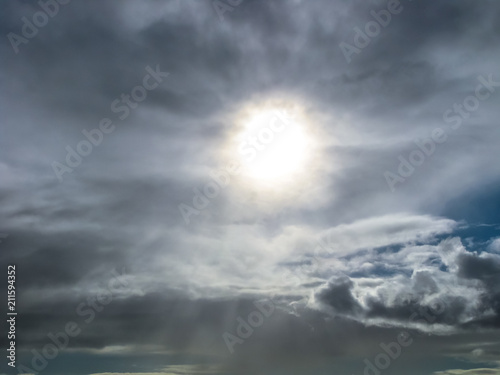 Tuinposter Canarische Eilanden Beach Las Americas, Tenerife, Canary Islands. Cloudy sky with sun rays that pass through the clouds.