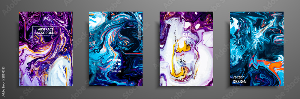Fototapeta Mixture of acrylic paints. Liquid marble texture. Fluid art. Applicable for design cover, presentation, invitation, flyer, annual report, poster and business card, desing packaging. Modern artwork.