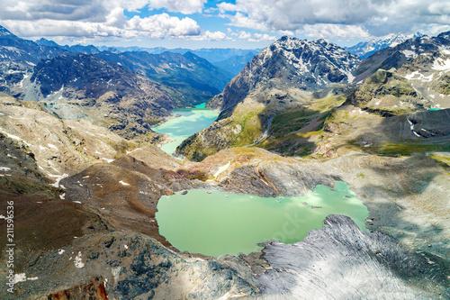 Fényképezés  Alta Valmalenco (IT) - Vista aerea del ghiacciaio di Fellaria e Dighe di Campo M