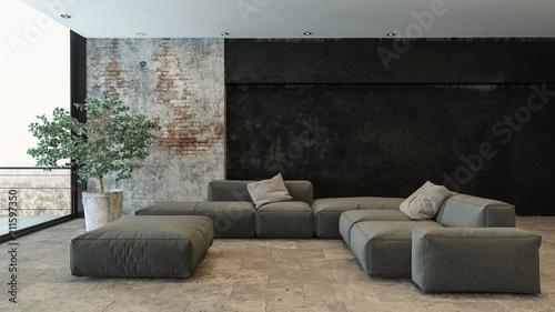 Hervorragend Wohnzimmer Mit Grauer Couch Und Steinwand