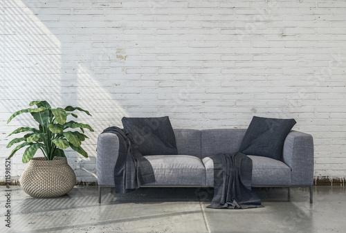 Fotografie, Tablou Minimalistisches Wohnzimmer mit grauer Couch