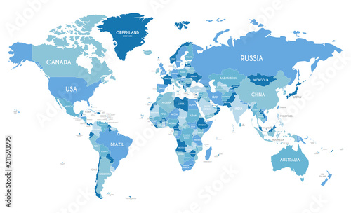 Political World Map vector illustration with different tones of blue for each country. Editable and clearly labeled layers.