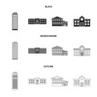 Skyscraper, police, hotel, school.Building set collection icons in black,monochrome,outline style vector symbol stock illustration web.
