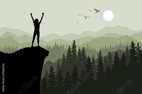 Fototapeta Human standing on the top of mountain obraz