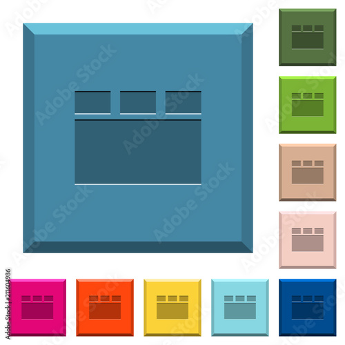 Horizontal tabbed layout engraved icons on edged square buttons