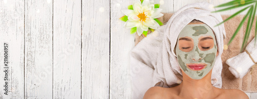 Young healthy woman with face mask. Fototapet