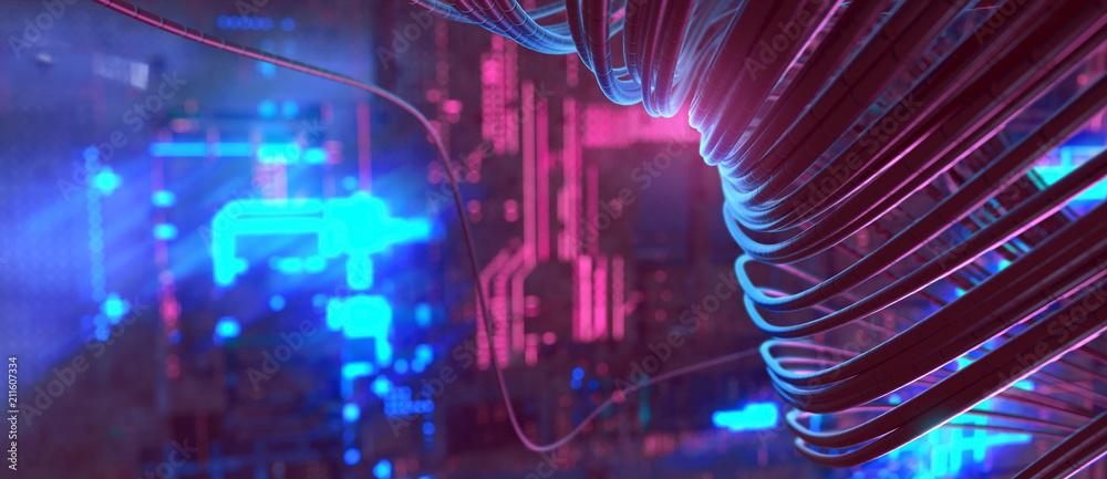 Fototapety, obrazy: Kabel in Serverraum