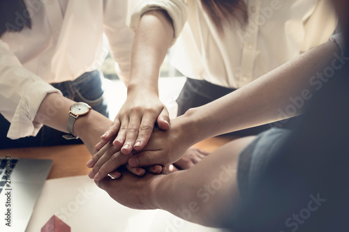 Photo  Teamwork Join Hands Support Together Concept with vintage tone